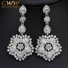 CWWZircons Brand Sparkling Cubic Zirconia Party Costume Jewelry Exaggerated Long Big Flower Drop Earrings For Women CZ253