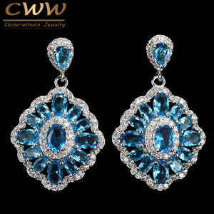 CWWZircons Brand 2018 New Trendy Gorgeous Big Light Blue Crystal Drop Earrings For Women Wedding Bridesmaid Jewelry Gift CZ340
