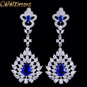 CWWZircons Top Quality Dangle Drop Austrian Blue CZ Crystal Long Statement  Wedding Party Earrings Jewelry For Women CZ105