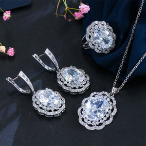 CWWZircons Vintage Women Costume Accessories Luxury Big Oval Light Blue Crystal Jewelry Sets With Cubic Zirconia Stones T012