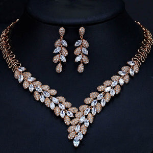 CWWZircons Nthiopian African Gold Earrings Necklace Wedding Jewelry Set Blue CZ Crystal Golden Jewellery Sets For Wedding T289