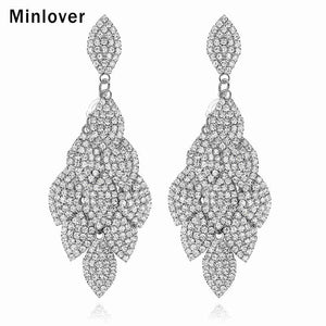 Minlover Silver Color Leaf Shape Crystal Wedding Long Earrings Rhinestone Bridal Earrings Bridesmaid Party Prom Jewelry EH593