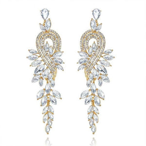 Minlover Elegant Leaves Long Drop Earrings for Women Silver Color Crystal Hanging Earrings Wedding Engagement Jewelry MEH946