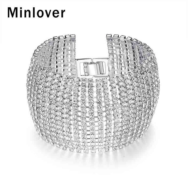 Minlover Simple Style Wide Crystal Bridal Bracelets for Women Rhinestone African Bridesmaid Bracelet Wedding Jewelry Gift SL145