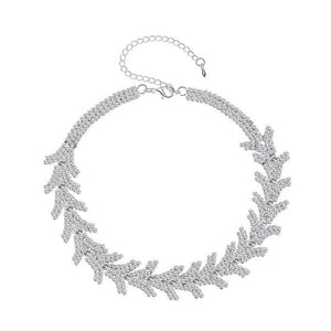 Minlover 2018 New Leaf Rhinestone Bridal Chokers Necklaces for Girls Silver Color Trendy Party Chocker Wedding Jewelry MXL128