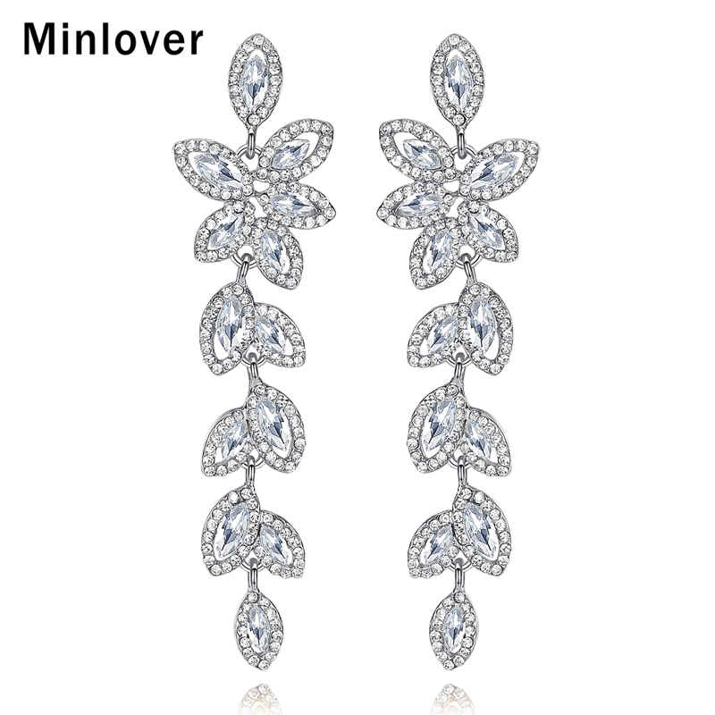 Minlover Romantic Austria Crystal Water Drop Leaves Earrings Bridal Wedding Earings Silver Jewelry for Womens Accessories EH282