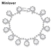Minlover Elegant Simulated Pearl Bracelets for Women Teardrop Crystal African Ladies Bracelets Fashion Wedding Jewelry MSL358