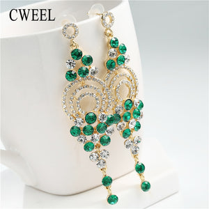 CWEEL Fashion Earings For Women Ethnic Long Imitation Crystal Dangle Earrings Anniversary Wedding Party Gift Jewelry Brincos