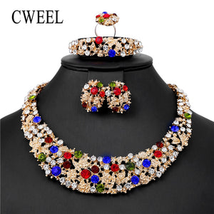 CWEEL 2018 Jewelry Set For  Women Wedding Nigeria Imitation Crystal Necklace Set Gold Color African Dubai Jewelry Sets