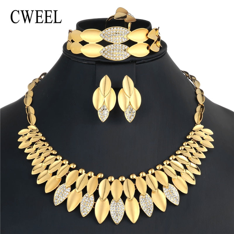 Dubai Jewelry Sets Fashion Earrings For Women Bridal Wedding Nigerian Costume Imitation Crystal African Beads Jewelry Set