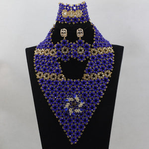Charming  Royal Bule Beads Jewelry Sets Custom For  African Wedding Beads  New Arrival Large Stock   Free Shipping hx307