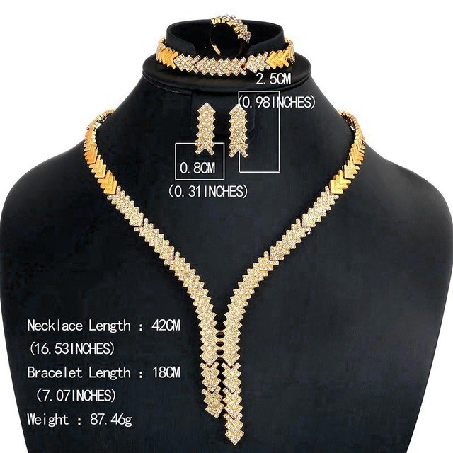 OUMEILY Jewelry Sets Elegant Women African Beads Jewelry Set Wedding Engagement Bridal Jewelry Sets Indian Gold Color Jewellery