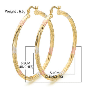OUMEILY Big Hoop Earrings for Women Gold Color Ladies Indian Wedding Bridal Statement Earrings Party Costume Jewelry Boho Earing