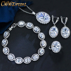 CWWZircons High Quality Shiny Oval CZ Zirconia Stones Fashion Pendant Earrings Ring Bracelet African Jewelry Set For Women T036