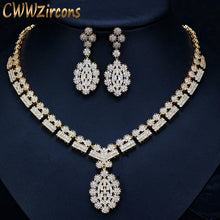 CWWZircons Full African CZ Crystal Bridal Wedding Necklace Earrings Dubai Gold Color Costume Jewelry Sets for Women T106