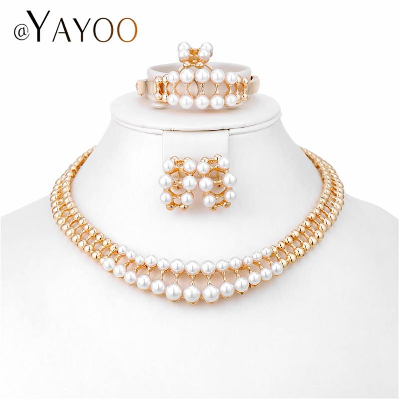 AYAYOO Big Dubai Jewellery Sets For Women Gold Color Wedding Fashion Earrings Simulated Pearls African Bridal Necklace Set