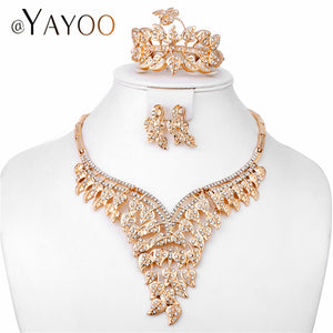 AYAYOO New Fashion African Jewelry Set Dubai Gold Color Bridal Necklace Set Imitation Crystal Indian Wedding Jewelry