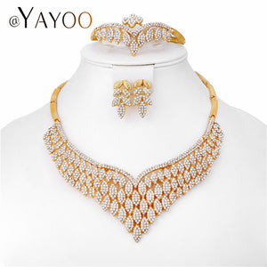AYAYOO African Women Jewelry Sets Gold Color Imitation Crystal Wedding Earrings And Necklace Set Dubai Luxury Bridal Jewelry Set