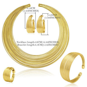 AYAYOO Necklace Sets For Women Gold Silver Color Bridal Jewelry Sets Nigerian African Luxury Dubai Wedding Jewelry Sets