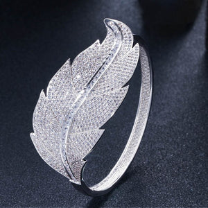 CWWZircons Luxury Brand Women Wedding Jewelry Cubic Zirconia Leaf Shape Big Wide African Dubai Rose Gold Open Bangles BG015