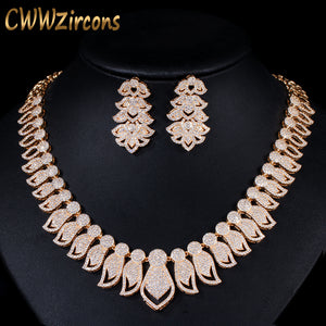 CWWZircons High Quality Micro Pave Cubic Zirconia Big African Dubai Gold Necklace Earrings Jewelry Sets for Women Wedding T238