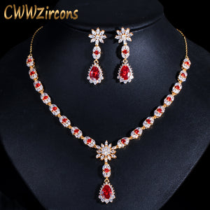 CWWZircons African Water Drop Red Cubic Zirconia Indian Yellow Gold Color Women Wedding Necklace Earring Bridal Jewelry Set T330