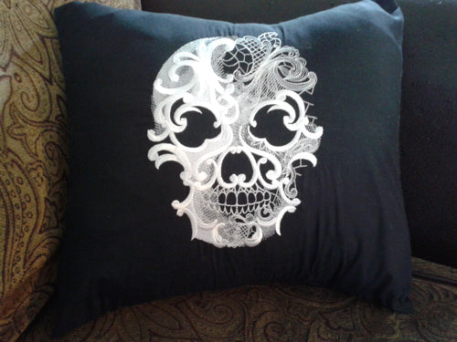 Baroque Ghost Skull  Pillow Cover