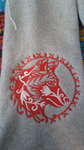 Embroidered Fleece Scarf,  Owl, Snowflake, Moose, Wolf