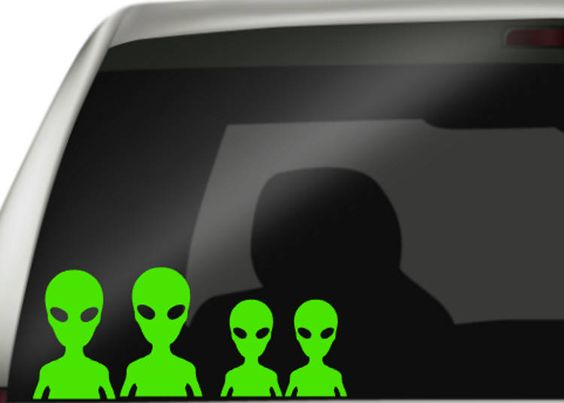 Alien Family Car Decals, Funny Family Decal, Stick Figure Family Parody Decals, Vinyl Decals