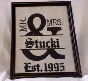 Mr and Mrs Embroidered Picture