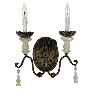 The Marshall wood and iron wall sconce from Lillian Home.