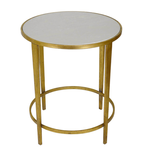 DOLLY GOLD LEAF ROUND SIDE TABLE