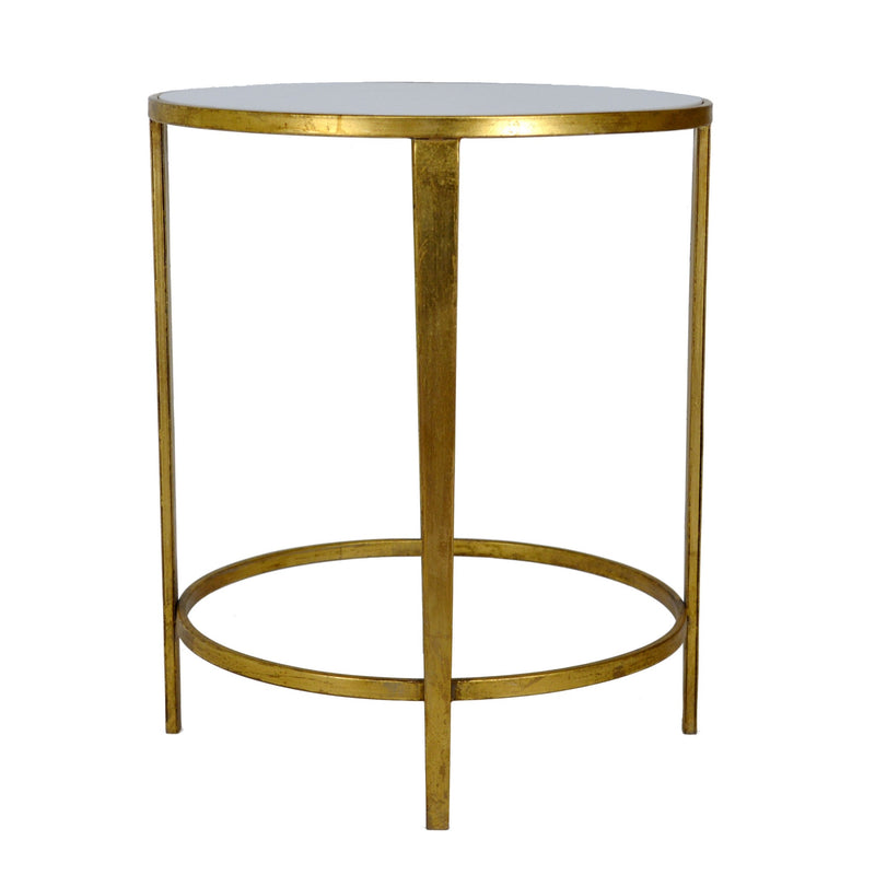 Dolly Gold Leaf Stone Top Round Side Table - Lillian Home