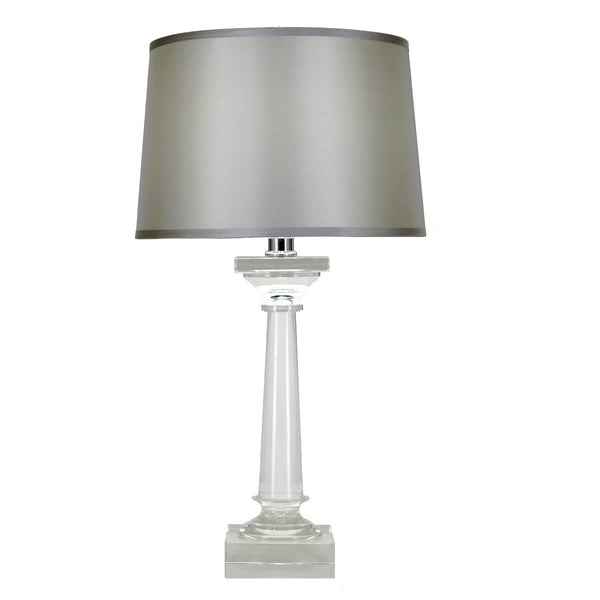 Crystal table lamp with silk shade