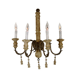 Demis 4 Light Wood and Iron Sconce - Lillian Home
