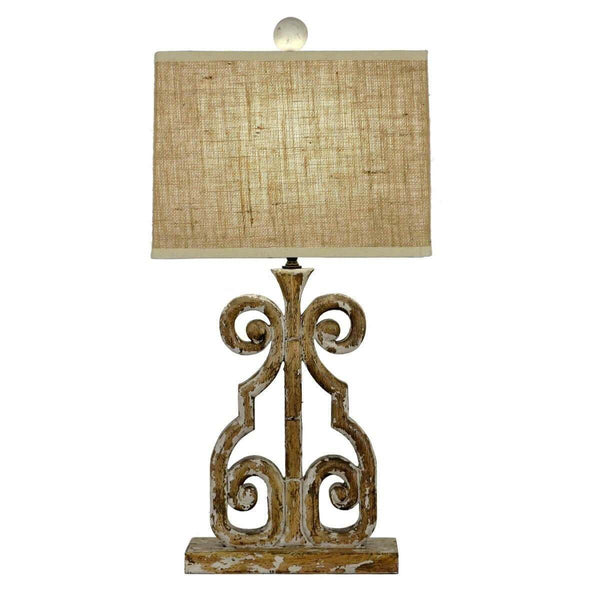 Edison Carved Wood Table Lamp | Lillian Home