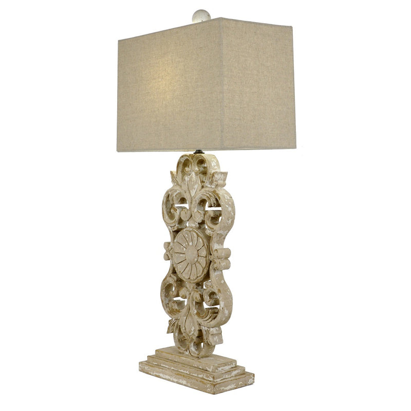 Lillian Home Elora Carved Wood Table Lamp