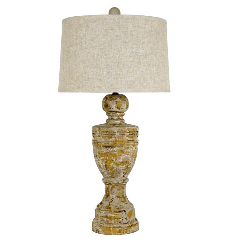 Julius Carved Oak Wood Table Lamp | Lillian Home