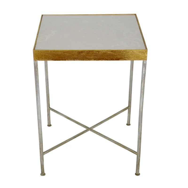 Faye Silver and Gold Side Table with Stone Top - Lillian Home