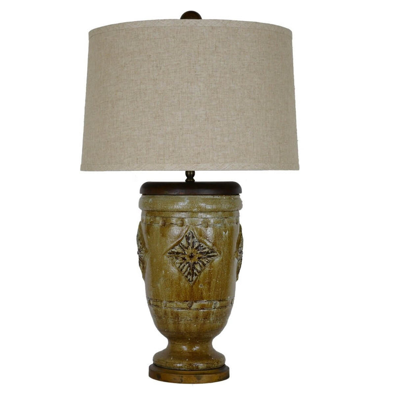Selena Green and Brown Pottery Table Lamp - Lillian Home