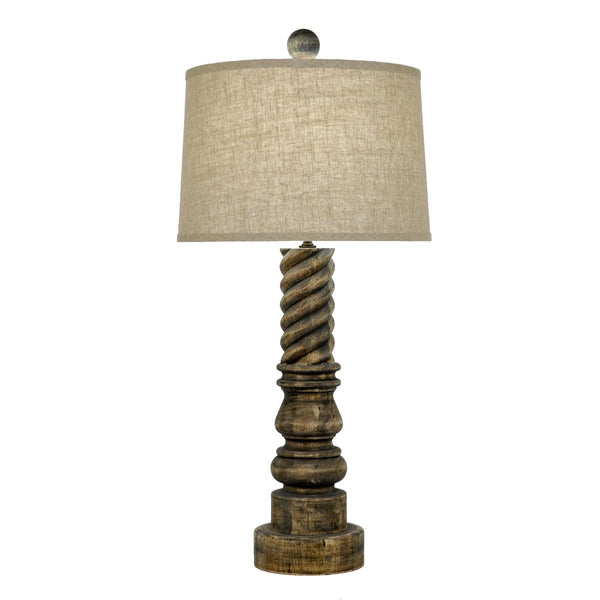 Magnolia Carved Wood Table Lamp - Lillian Home