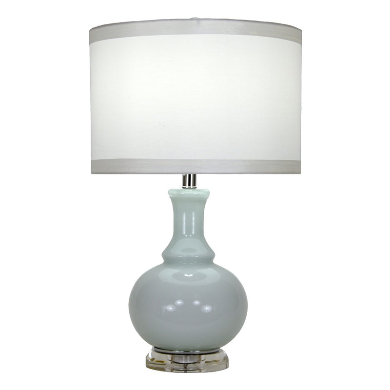 Soft blue color glass lamp with white shade