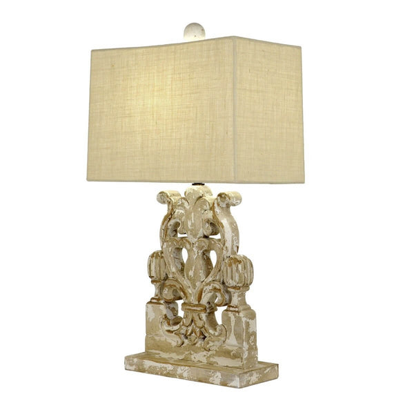 Wylie Carved Wood Table Lamp - Lillian Home