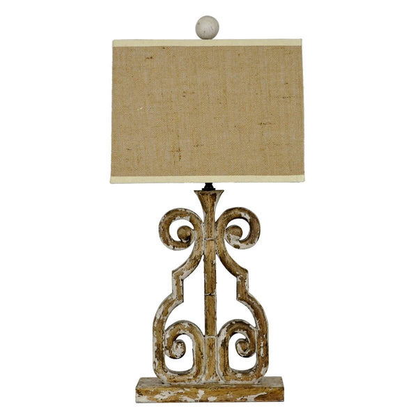 Edison Carved Wood Table Lamp - Lillian Home