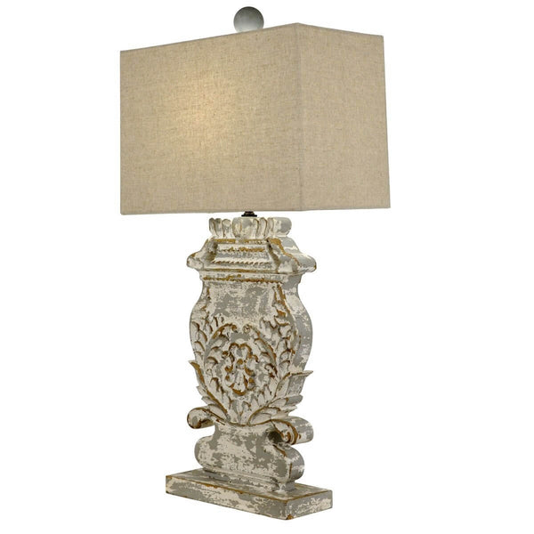 Lyle Carved Wood Table Lamp - Lillian Home