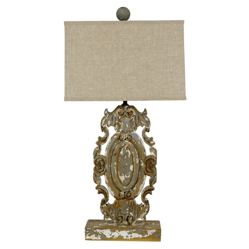 Greta Carved Wood Table Lamp | Lillian Home | Buy Now