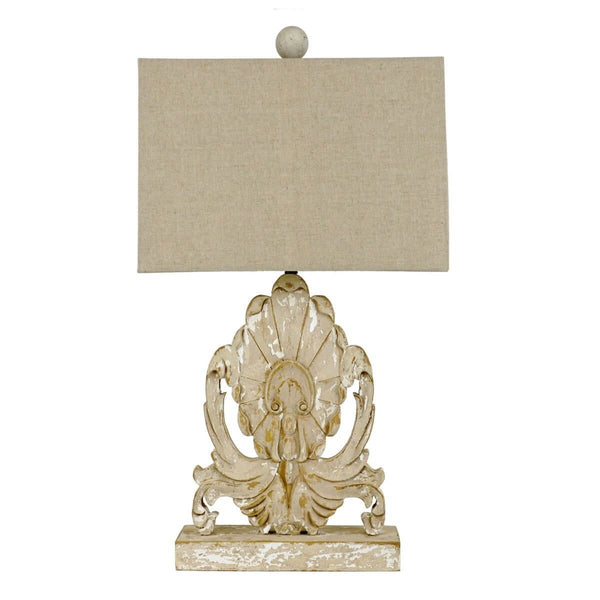 Lilith Carved Oak Wood Table Lamp | Lillian Home | Buy Now