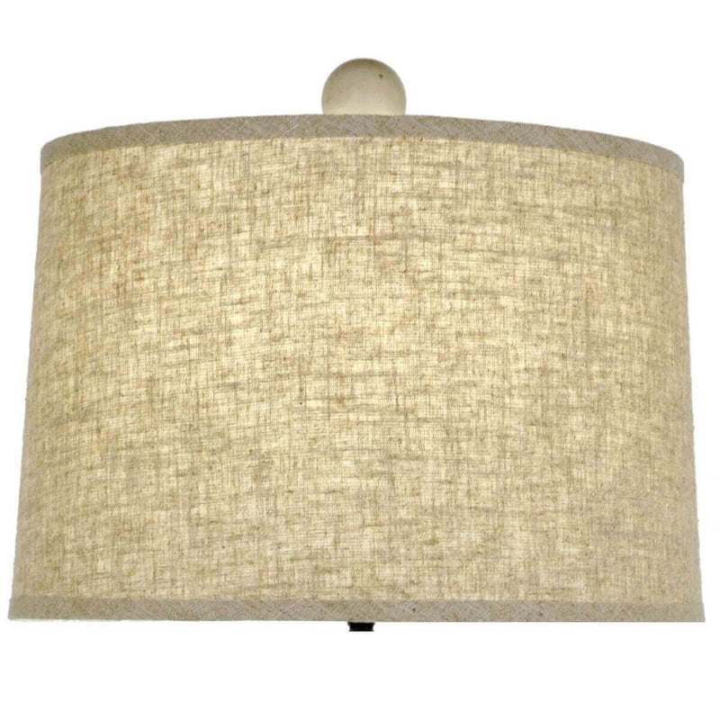 Damian Solid Wood Table Lamp - Carved Wooden Lamp