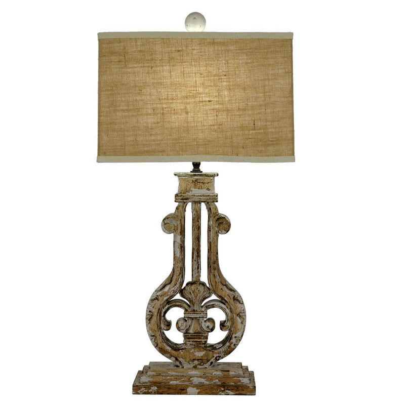 Bruno Carved Wood Table Lamp | Lillian Home
