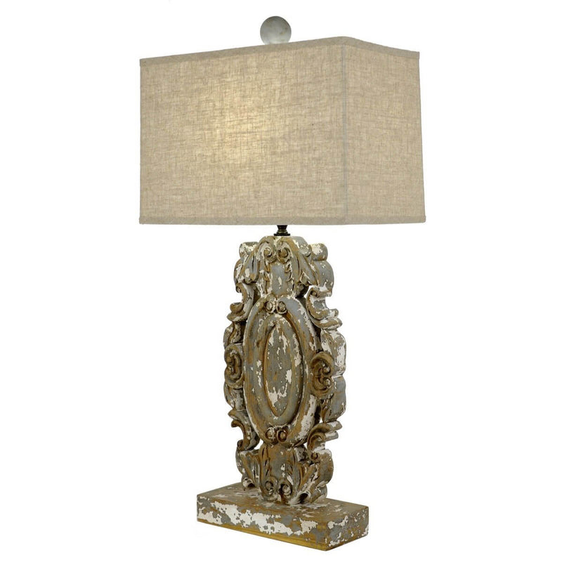 Greta Carved Wood Table Lamp - Lillian Home